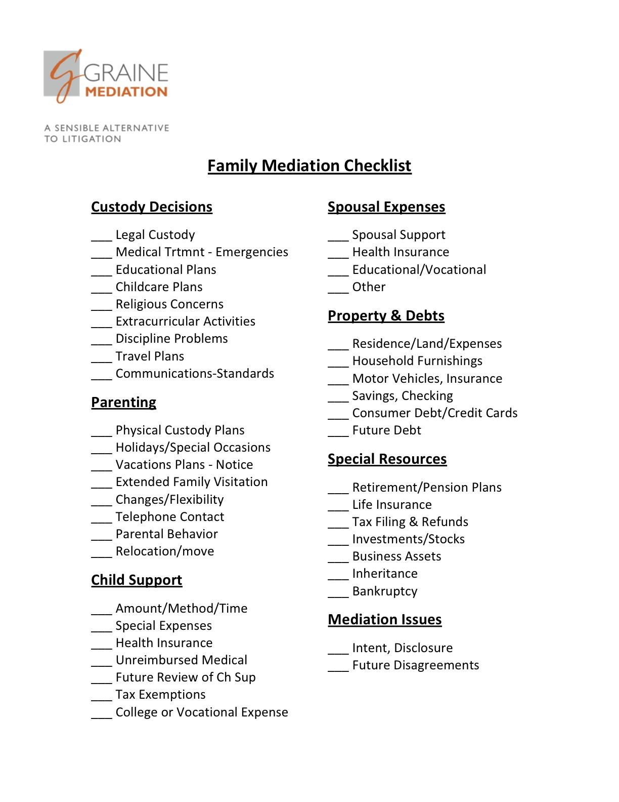 divorce mediation checklist for mediation divorce. Black Bedroom Furniture Sets. Home Design Ideas